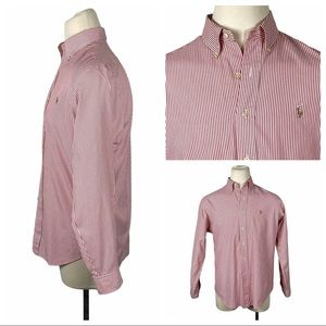 Ralph Lauren Classic Fit Red Striped Dress Shirt